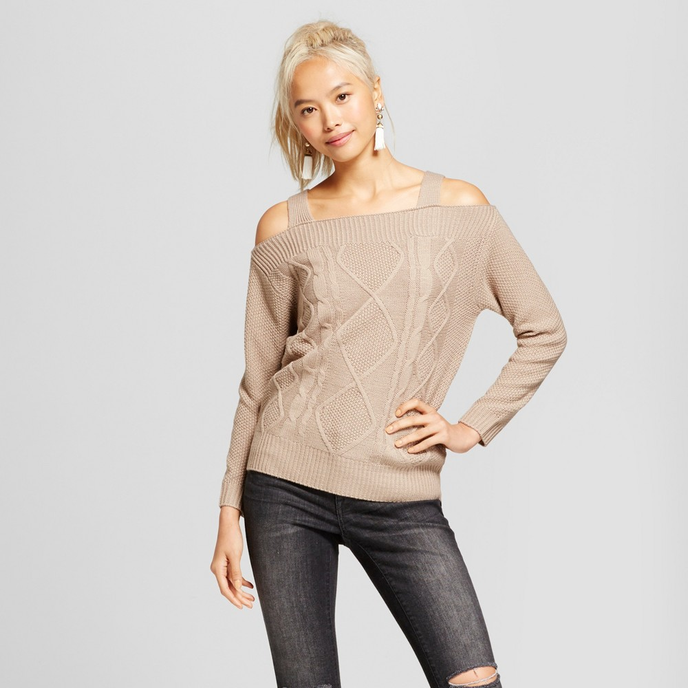 Womens Cold Shoulder Cable Knit Sweater - Love @ First Sight (Juniors) Beige S, Brown
