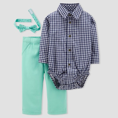 Baby Boys' 3pc Set with Bow Tie - Just One You® made by carter's Navy Gingham/Teal 6M
