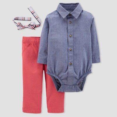 Baby Boys' 3pc Set with Bow Tie - Just One You® made by carter's Chambray/Red NB
