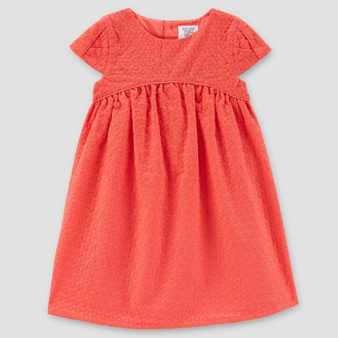 Toddler Girls' Eyelet Dress - Just One You™ Made by Carter's®  Coral - image 1 of 1