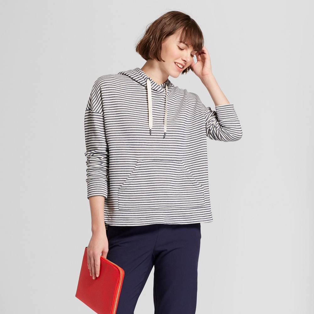 Women's Long Sleeve Striped Leisure Hoodie - A New Day Navy/Cream M, Blue