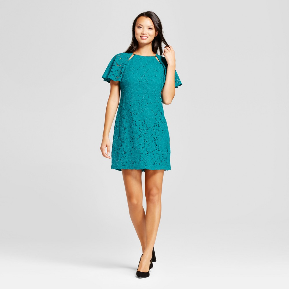 Womens Corded Lace Short Sleeve Dress with Cutouts - Melonie T Teal 8, Blue