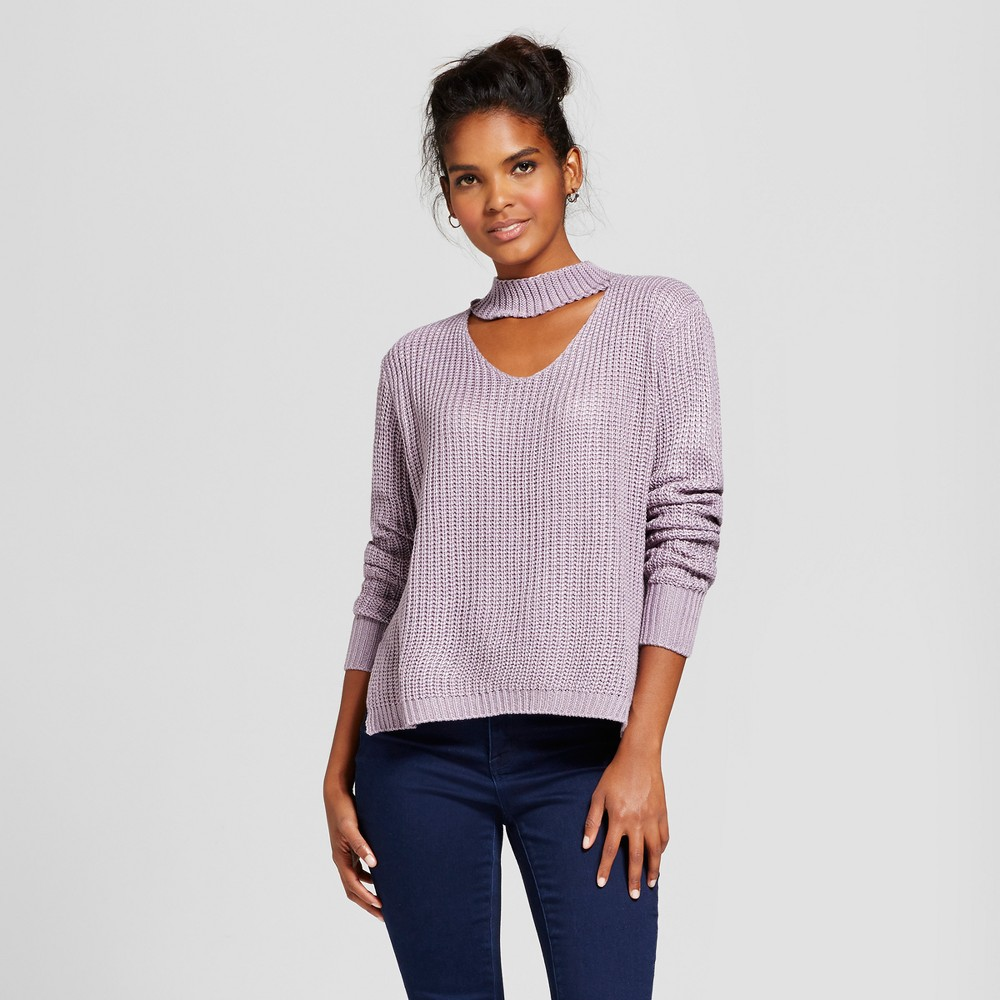 Womens Choker Ribbed Pullover Sweater - Love @ First Sight (Juniors) Purple M