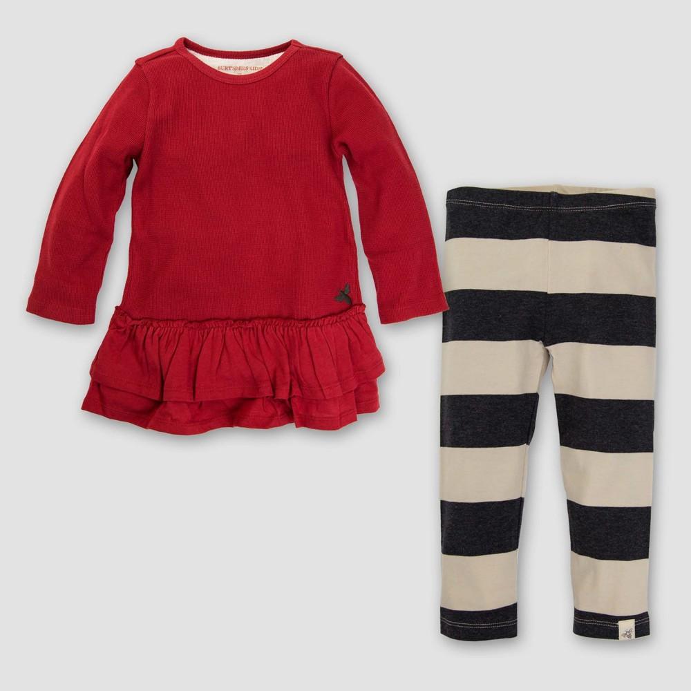 Burts Bees Baby Toddler Girls Organic Thermal Ruffle Skater Dress & Leggings Set - Cranberry 6, Black Pink White