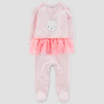 Baby Girls' Stripe Bunny Face Tutu Sleep N' Play - Just One You® made by carter's Pink 9M