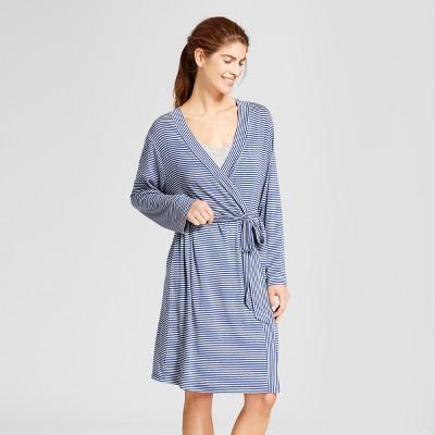Lamaze Women's Nursing Robe And Chemise Striped 2pc Pajama Set - Heather Glacier M