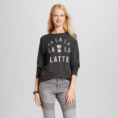 view Women's Fa La La Latte Long Sleeve Graphic Sweatshirt - Fifth Sun (Juniors') Charcoal on target.com. Opens in a new tab.