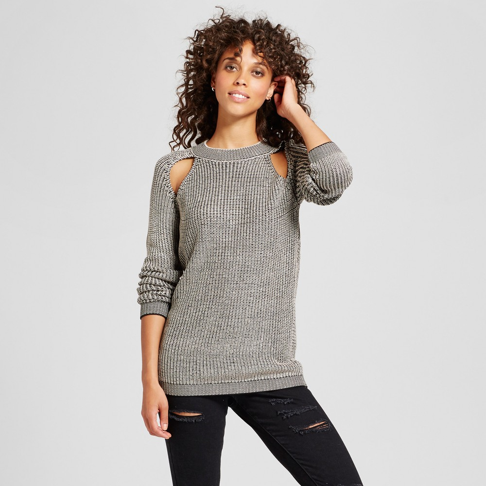 Womens Marled Cold Shoulder Sweater - Love @ First Sight (Juniors) Gray L