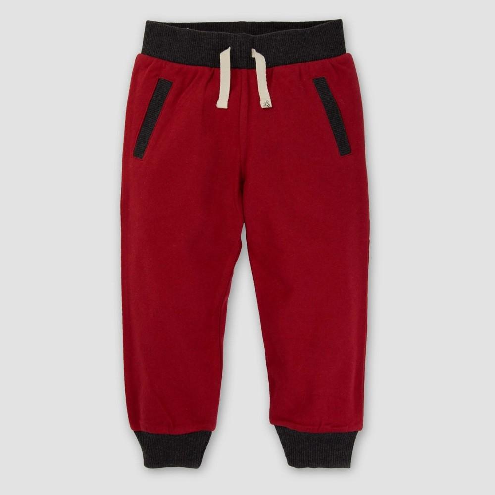 Jogger Pants Burts Bees Baby Cranberry 6, Infant Boys, Pink