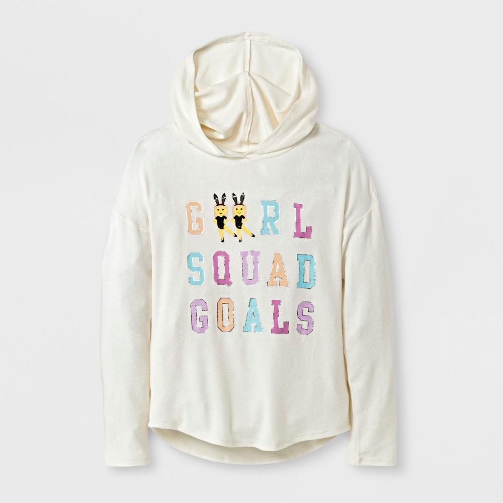 Girls Girl Squad Goals Graphic Hooded Sweatshirt - Cream S, Beige