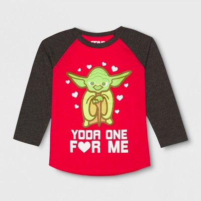 Toddler Boys' Star Wars Raglan Yoda One Long Sleeve T-Shirt - Red 3T