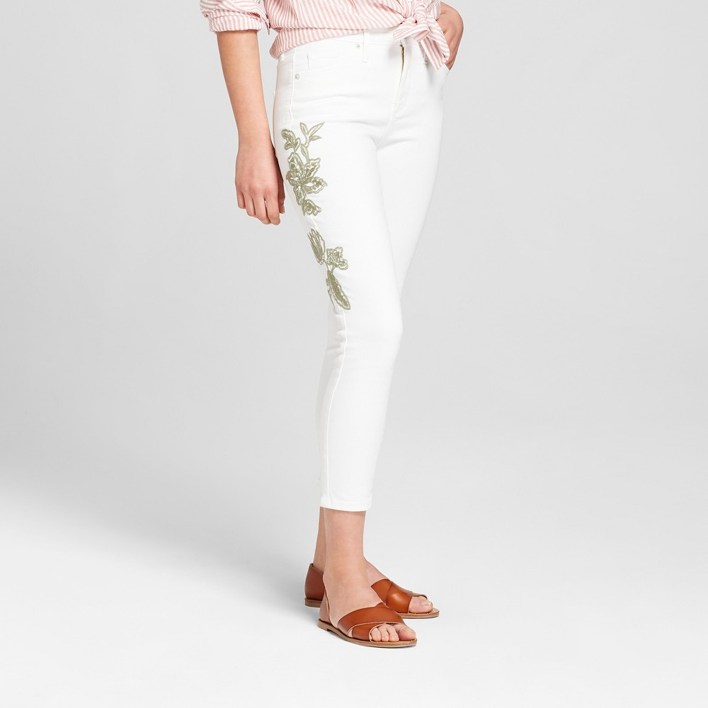 Women's High Rise Embroidered Skinny Crop Jeans Universal Thread White 4