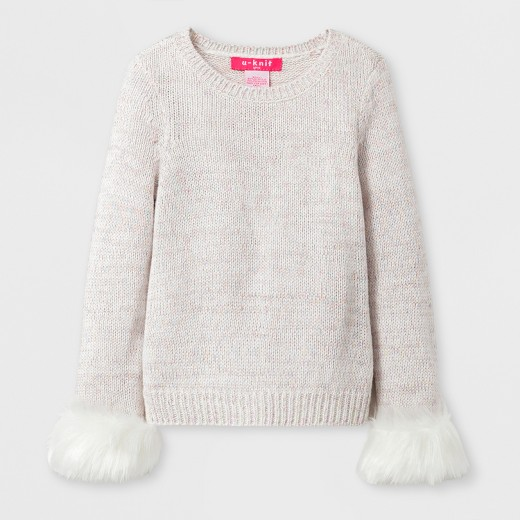 U-Knit Toddler Girls' Faux Fur Cuffs Pullover Sweater - Cream : Target