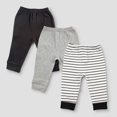 Luvable Friends Baby Boys' 3pk Tapered Striped Ankle Pants - Black 6-9M