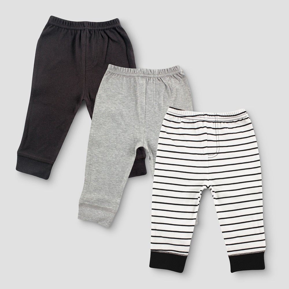 Luvable Friends Baby Boys 3pk Tapered Striped Ankle Pants - Black 6-9M, Size: 6-9 M