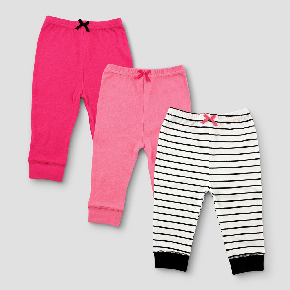Luvable Friends Baby Girls 3pk Tapered Striped Ankle Pants - Pink 6-9M, Size: 6-9 M