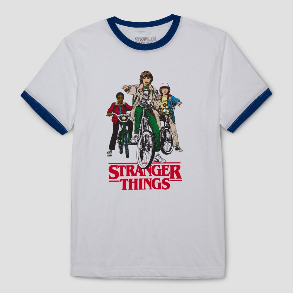 Mens Stranger Things Group Shot Ringer Graphic T-Shirt - White XL