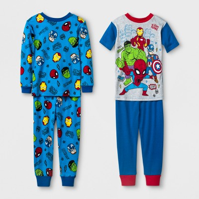 Baby Boys' Marvel Superhero Cotton Pajama Set - Blue 12 M