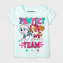 Toddler Girls' Short Sleeve PAW Patrol® 'Pawfect Team' with Sky and Everest T-Shirt - Mint