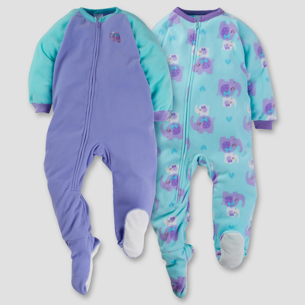 Gerber Toddler Girl 2pk Sweet Elephant Microfleece Zip-Front Footed Blanket Sleepers - Purple 5T