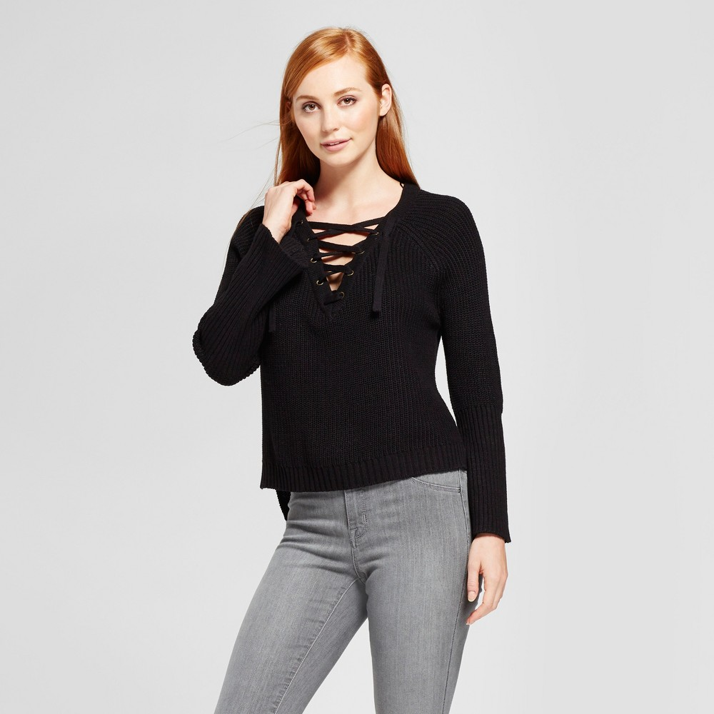Womens Lace-Up Bell Sleeve Pullover Sweater - nitrogen Black S
