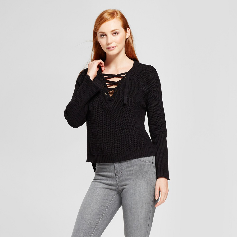 Womens Lace-Up Bell Sleeve Pullover Sweater - nitrogen Black M