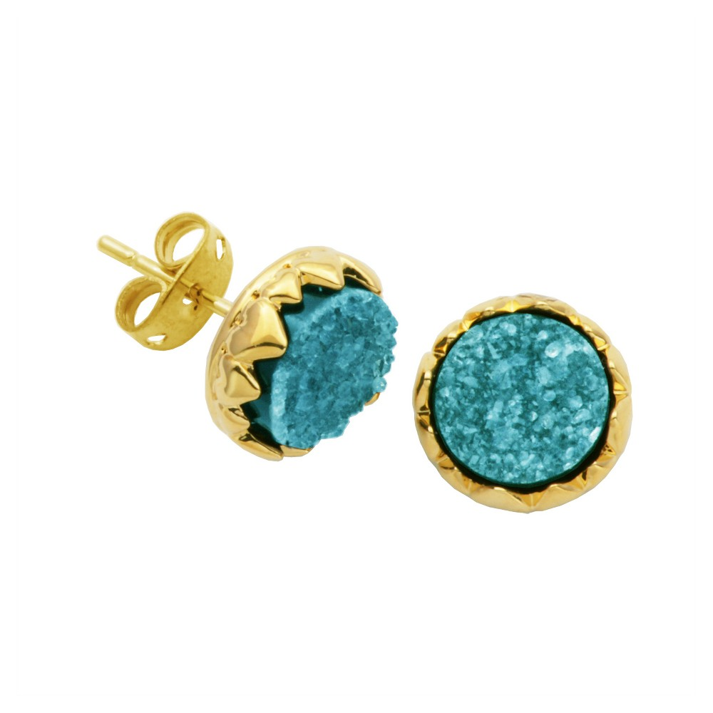 18k Gold Over Fine Silver Plated Bronze Turquoise Dyed Genuine Druzy Stud Earrings, Womens, Gold/Turquoise