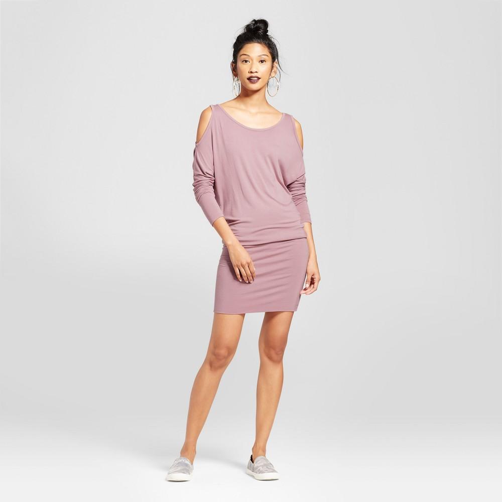 Womens Cold Shoulder Dolman Sleeve Dress - Almost Famous (Juniors) Mauve M, Purple