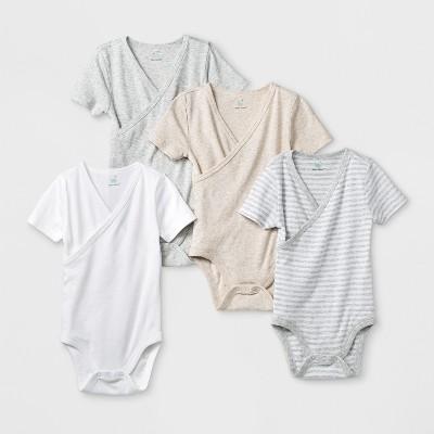 Baby 4pk Short Sleeve Kimono Bodysuit - Cloud Island™ White 0-3M