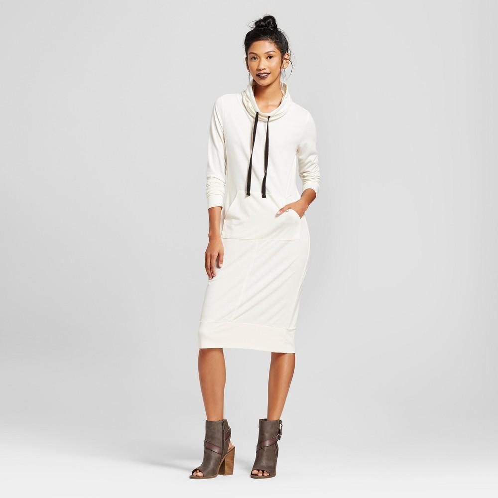 Womens Funnel Neck Kangaroo Pocket French Terry Midi Dress - Almost Famous (Juniors) White L