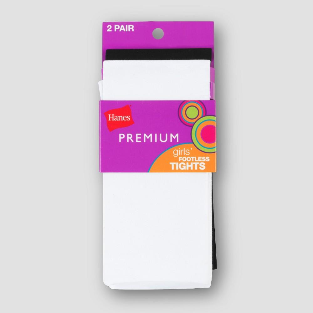 Hanes Premium Girls 2pk Hosiery Legging Black/White L, Multi-Colored