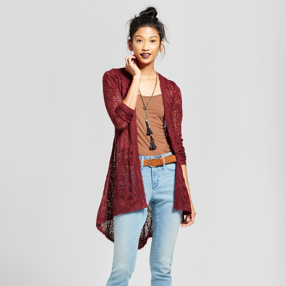 Womens Pointelle Tie Back Duster Cardigan - Almost Famous (Juniors) Burgundy XL, Red