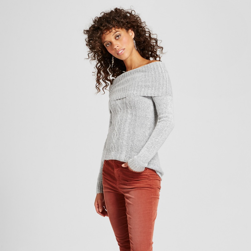 Womens Cable Off the Shoulder Tunic Sweater - Almost Famous (Juniors) Gray M