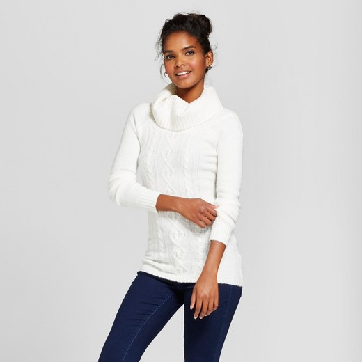Women's Cable Off the Shoulder Tunic Sweater - Almost Famous ...