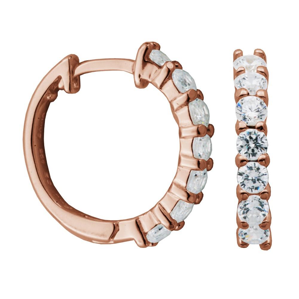 14k Rose Gold Plated Sterling Silver Cubic Zirconia Huggie Hoop Earrings, Womens