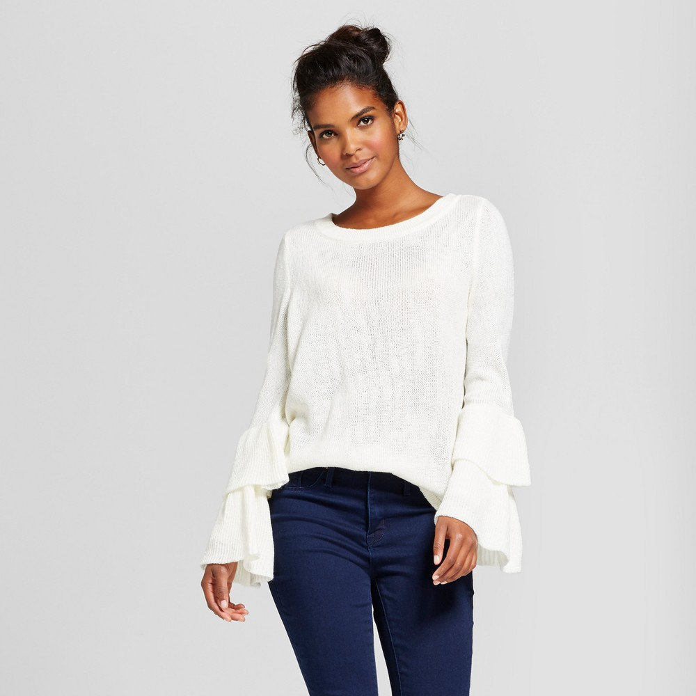 Womens Tiered Ruffle Sleeve Drop Shoulder Sweater - Almost Famous (Juniors) White L, Beige