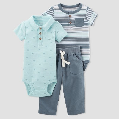Baby Boys' 3pc Bodysuits and Pants Set - Just One You® made by carter's Blue 6M