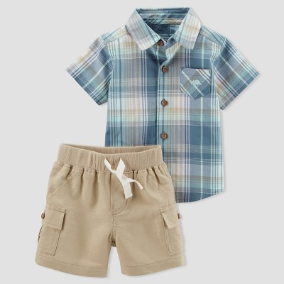 Baby Boys' 2pc Plaid Shirt and Khaki Shorts Set - Just One You® made by carter's Gray NB