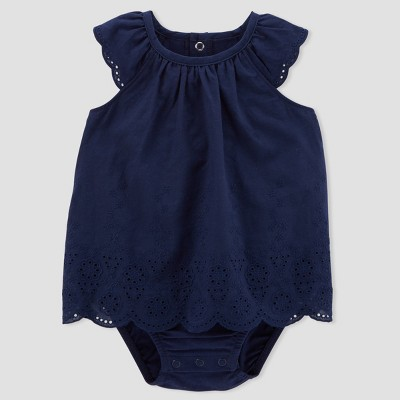 Baby Girls' 1pc Eyelet Sunsuit - Just One You® made by carter's Blue 18M
