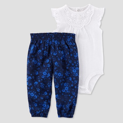 Baby Girls' 2pc Floral Jogger and Top Set - Just One You® made by carter's White NB