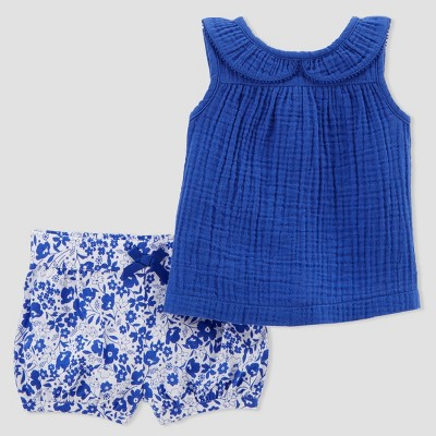 Baby Girls' 2pc Top and Floral Shorts Set - Just One You® made by carter's Blue 12M