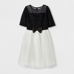 Girls' ZENZI Elbow Sleeve Sweater Knit A Line Dress - Black/White
