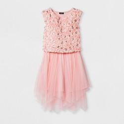 Girls' ZENZI Cap Sleeve Soutache Bodice With Fairy Hem Mesh Skirt - Pink