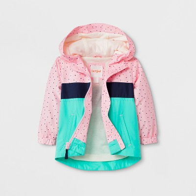 Toddler Girls' Polka Dots Hooded Windbreaker - Cat & Jack™ Pink 12M