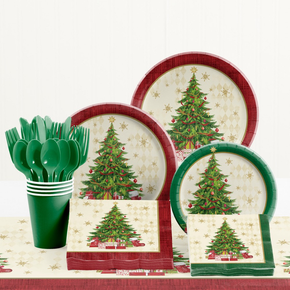 Creative Converting Tasteful Tree Christmas Party Supplies Kit, Multi-Colored
