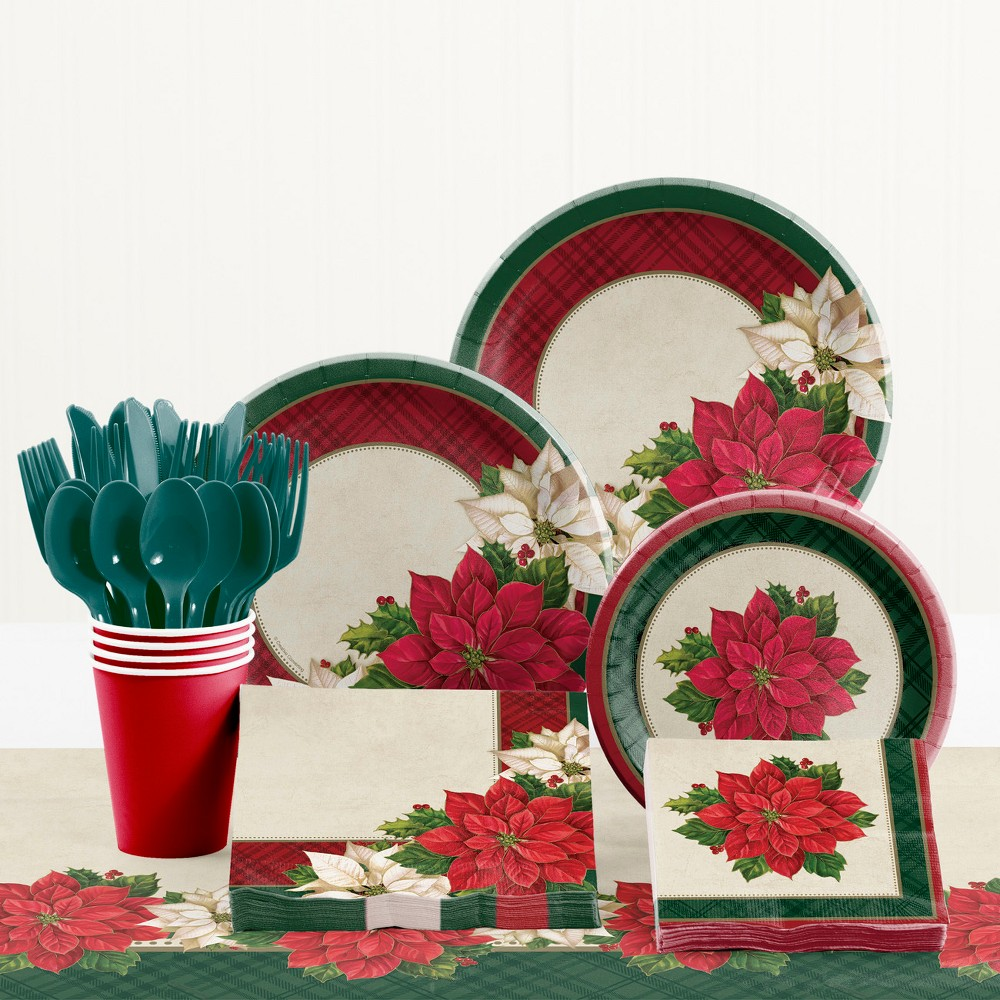 Creative Converting Plaid Poinsettia Christmas Party Supplies Kit, Multi-Colored