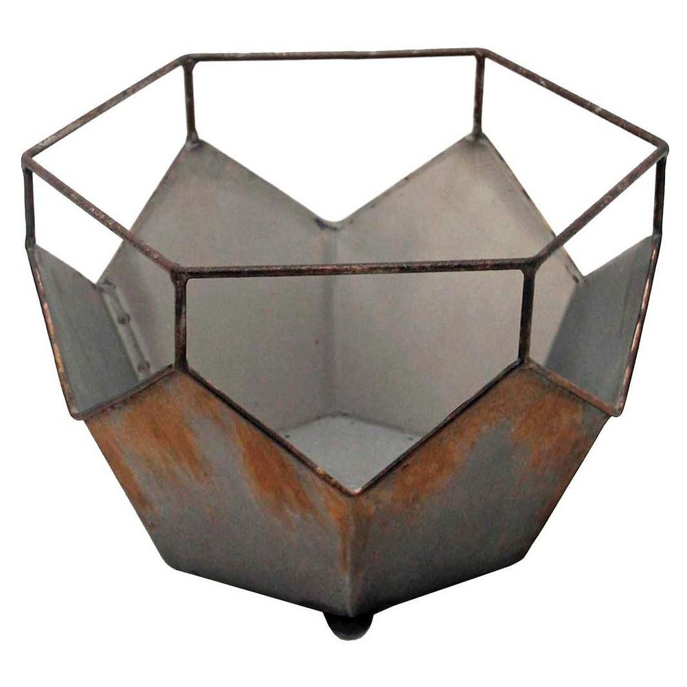 Oval 8 Prism Planter Medium Silver - Foreside Home & Garden