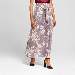Women's Floral Wrapfront Skirt - Xhilaration™ Stone