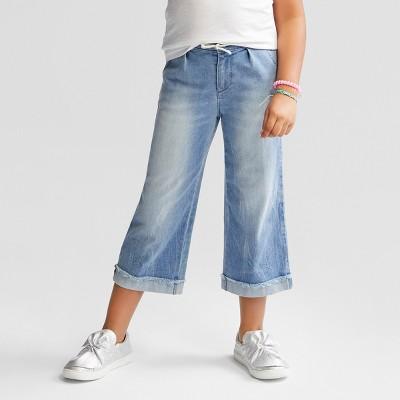 Girls' Denim Wide Leg Crop - Cat & Jack™ Medium Blue 6 Slim