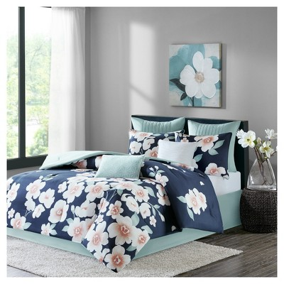 Navy Carmine Cotton Comforter Set Queen 8pc